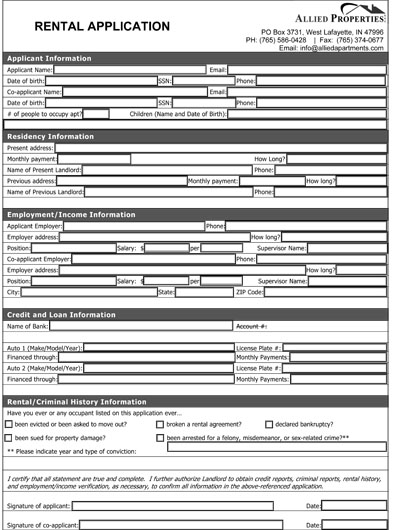 Rental Application Form Real Estate Forms - tenant application form