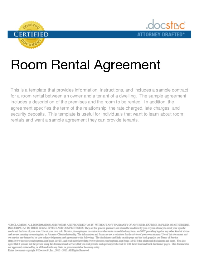 Room Rental Agreement Real Estate Forms - room rental agreements