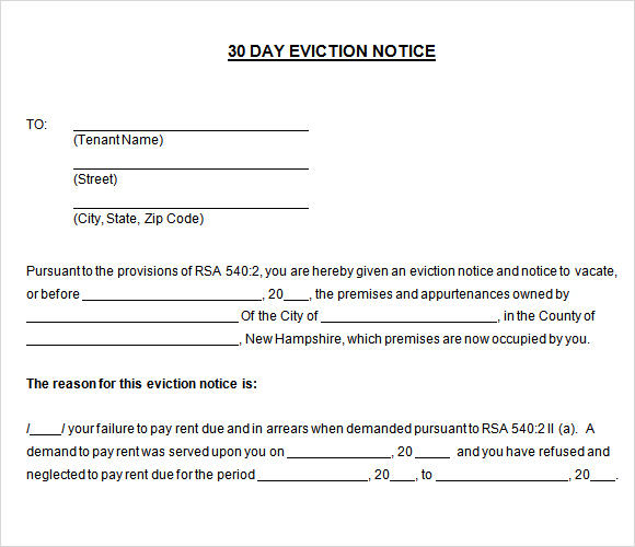 30 Day Notice To Vacate Template Real Estate Forms - free printable eviction notices