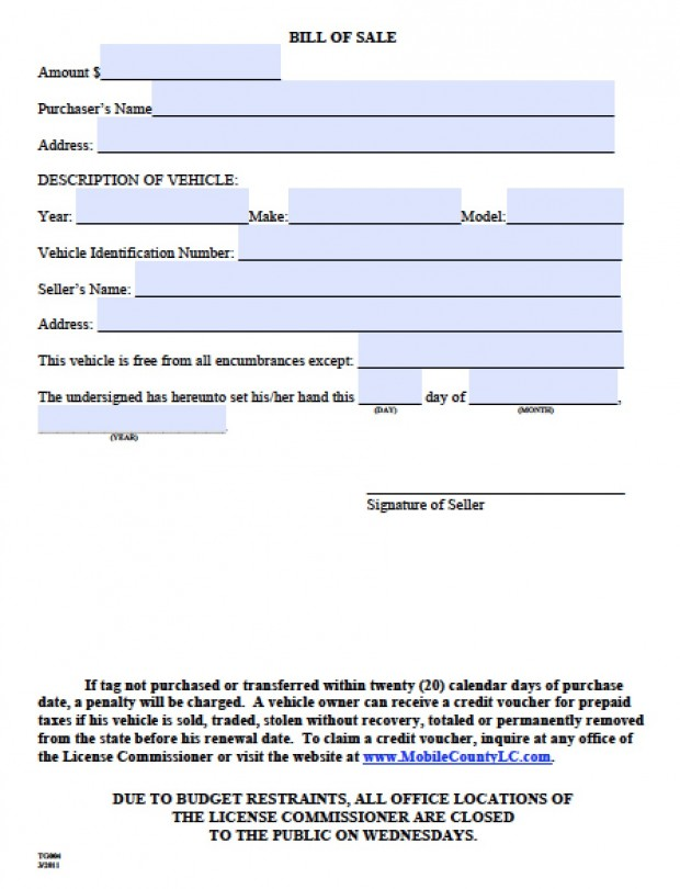 Bill Of Sale Alabama Real Estate Forms
