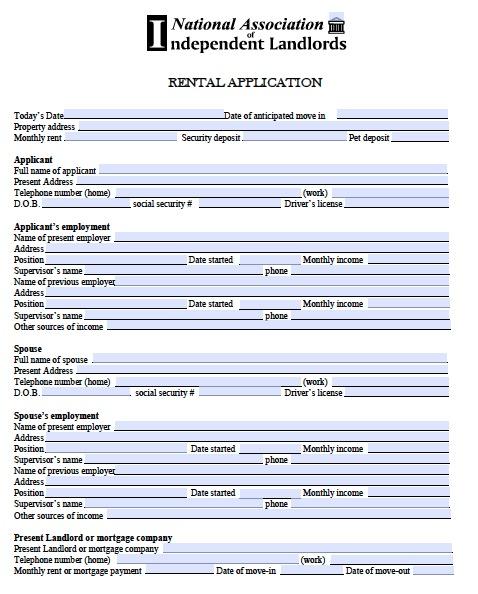 Free Rental Application Form Real Estate Forms