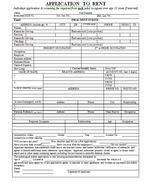 Hr Forms Office Of Financial Management Generic Rental Application Real Estate Forms