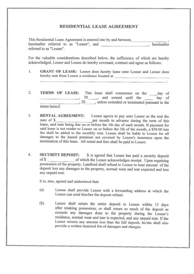 Lease Rental Agreement Real Estate Forms - lease agreement