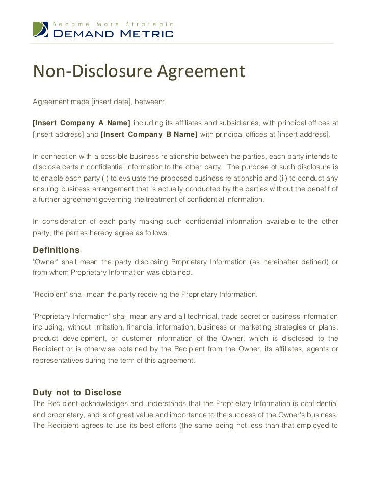 Non Disclosure Agreement For Patent – Real Estate Confidentiality Agreement