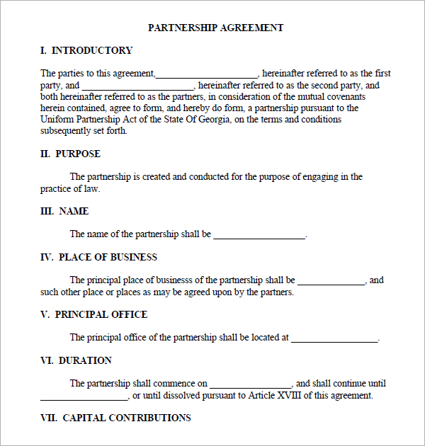 contract of partnership - Intoanysearch - partnership agreement contract