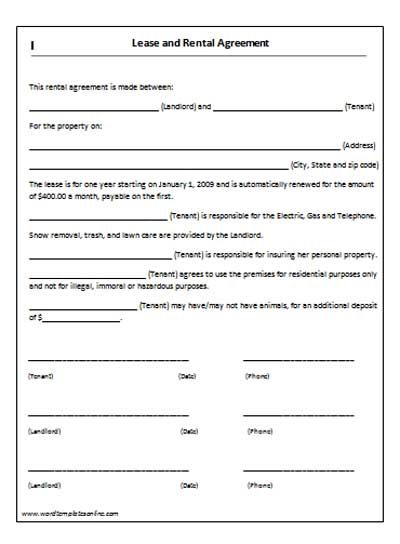 Rent Lease Agreement Real Estate Forms - house rent contracts