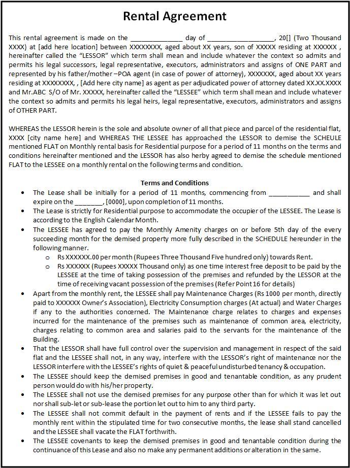 Sample Lease Agreement Form - sarahepps -