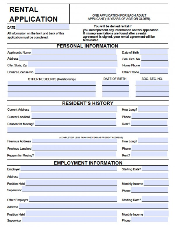 Rental Application Form Pdf Real Estate Forms - application form in doc