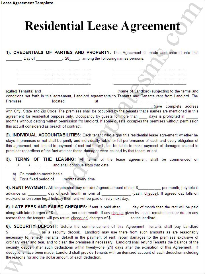 Rental Lease Agreement Templates Free Real Estate Forms