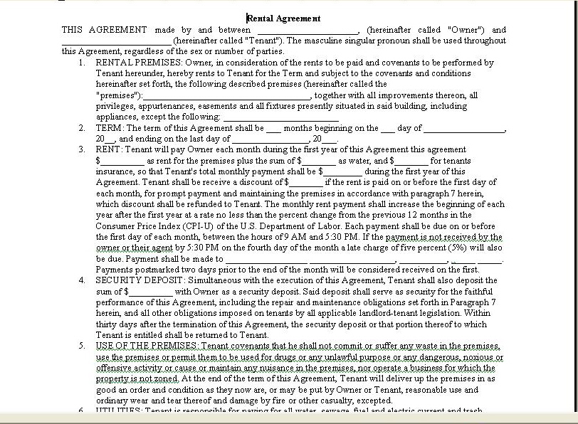 Room Rental Agreement Form Real Estate Forms - Room Rental Agreement Form