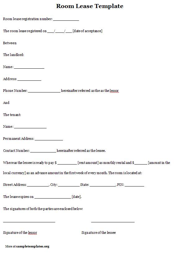room lease agreement template free - 28 images - 13 room rental