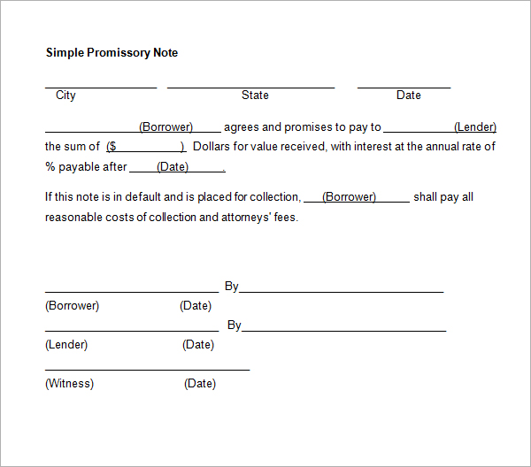 Simple Promissory Note Real Estate Forms - promissory notes