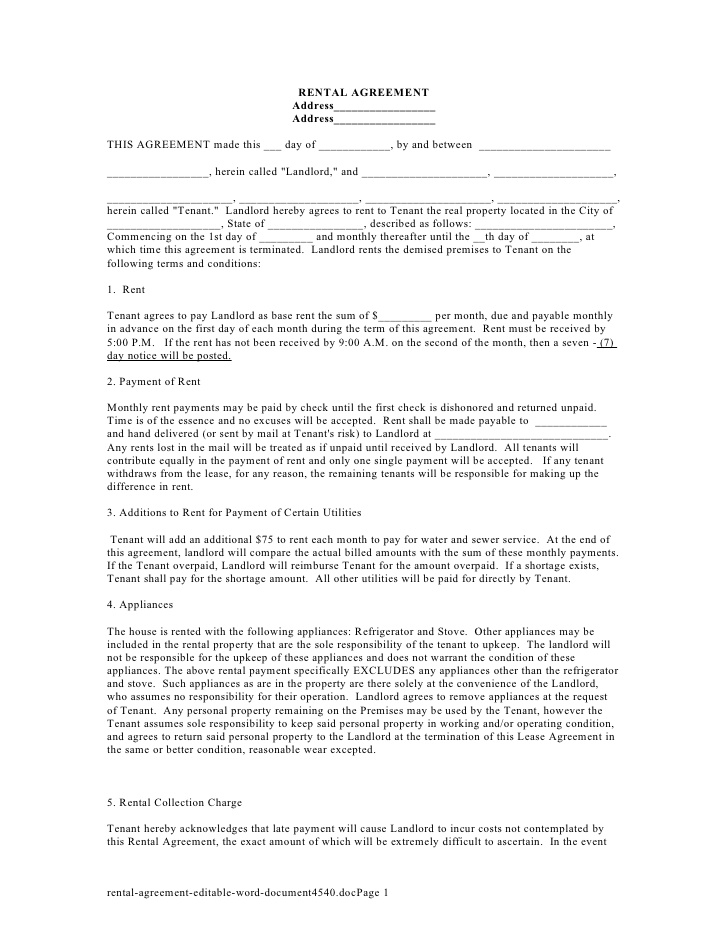 Simple Rental Contract Template  Create Professional Resumes