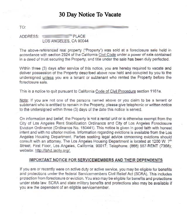 Tenant 30 Day Notice To Vacate Real Estate Forms