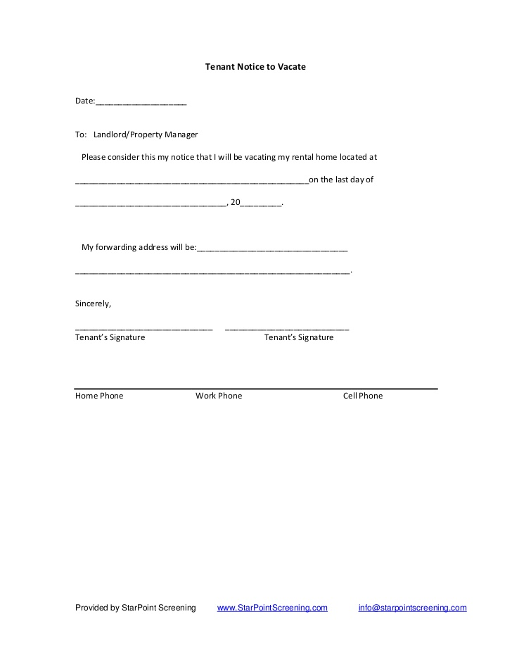 notice to vacate letter to landlord template