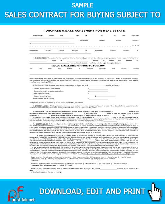 SALES CONTRACT FOR BUYING SUBJECT 2 Real Estate Forms