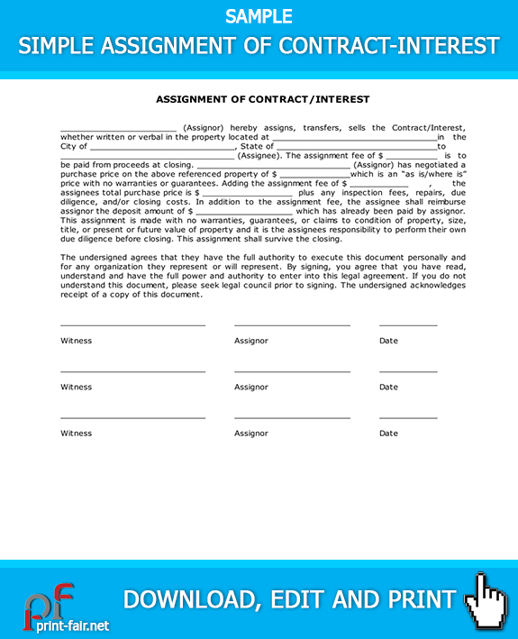 Simple Assignment of Contract \u2013 Interest Real Estate Forms