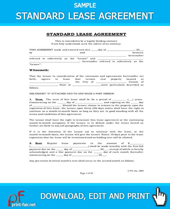 Free Standard Lease Agreement-Standard Rental Agreement Real