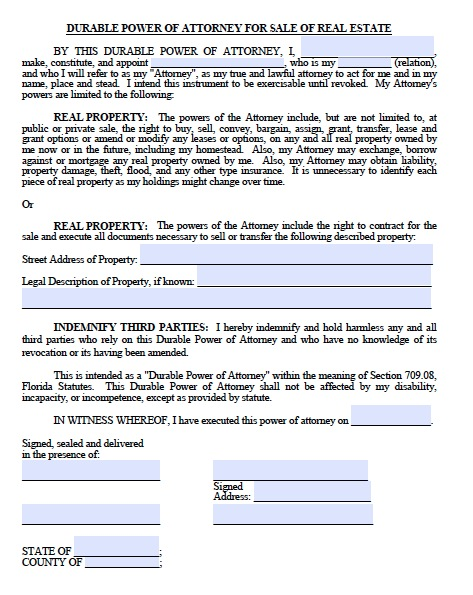 Free Printable Power Attorney Template Form Real Estate Forms - blank power of attorney form