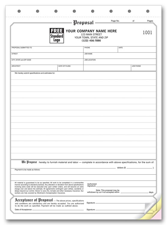 Proposal Forms, Acceptance forms, Contractor forms - Print Forms - estimate proposal template