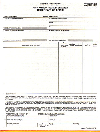 NAFTA Certificate of Origin, International Trade, International - Certificate Of Origin Forms