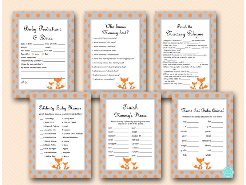 Fox Baby Shower Games Printable Printabell \u2022 Express