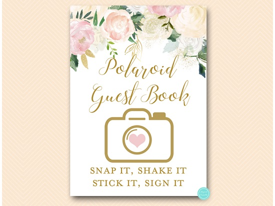 Pink Blush Polaroid Photo Guest book Sign Printabell \u2022 Express