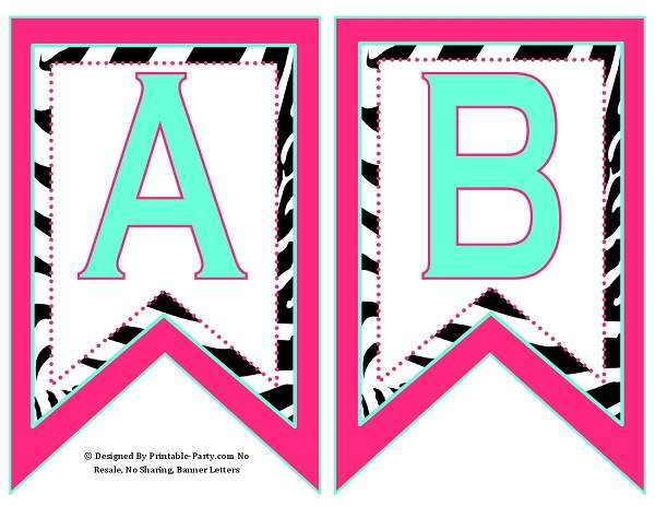 Small Swallowtail Printable Banner Letters A-Z Numbers 0-9 TH