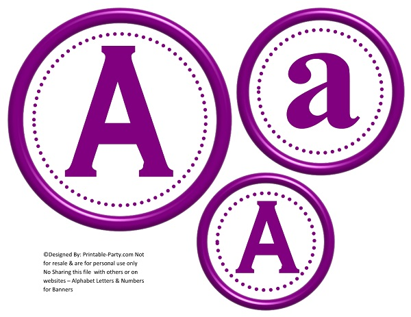 3D Circle Printable Banner Letters A-Z 0-9 Create A Personalized