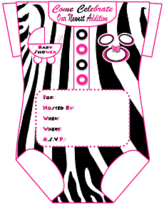 Free pink zebra baby shower invitation template invitationswedd black pink zebra mouse invitations design 3 girls onesie baby shower invitations for filmwisefo