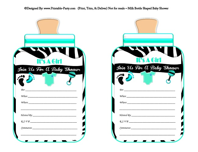 Girl Printable Bottle Baby Shower Invitations Milk Bottle Shaped