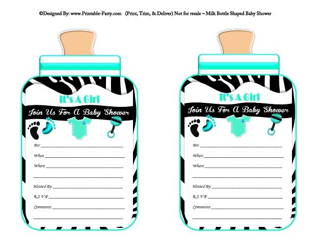 Girl Printable Bottle Baby Shower Invitations Milk Bottle Shaped