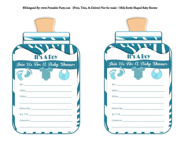 Boy Printable Bottle Baby Shower Invitations Babies Milk Bottle - Printable Baby Shower Invite