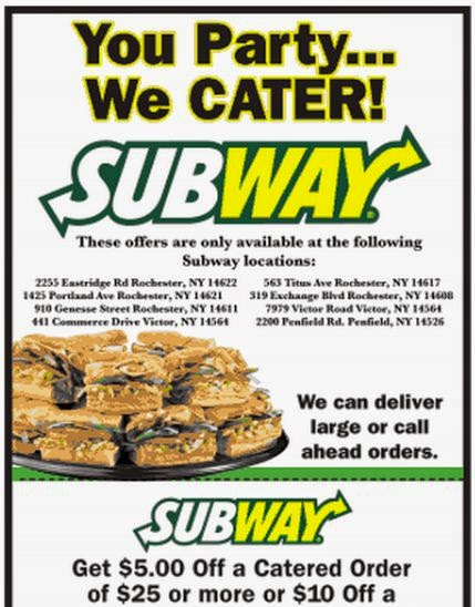 Subway catering coupons printable / Babies r us 20 off coupon