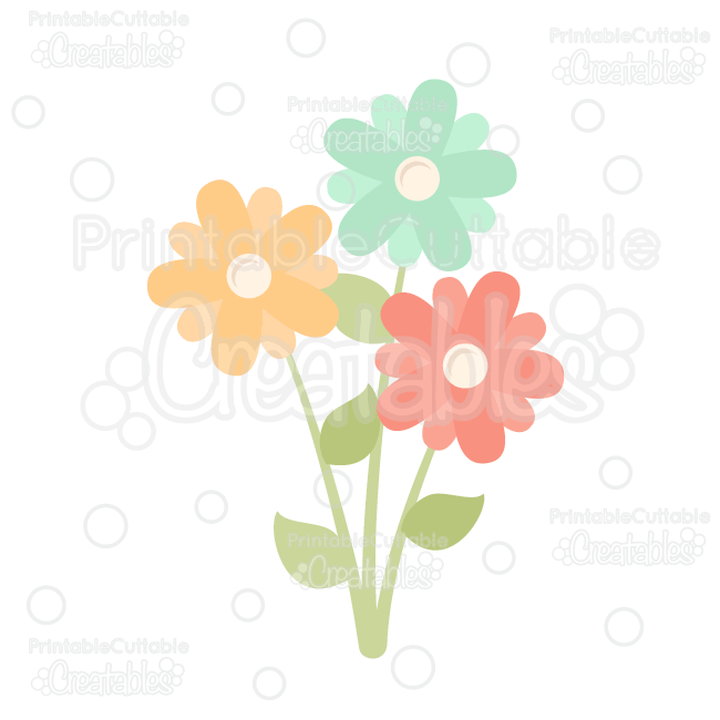 Spring flowers free svg cut file amp clipart silhouette