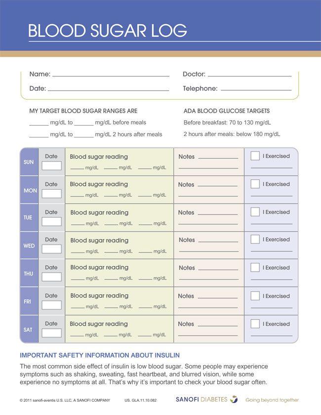 Blood Sugar Template 30 printable blood pressure log templates - glucose log sheets printable