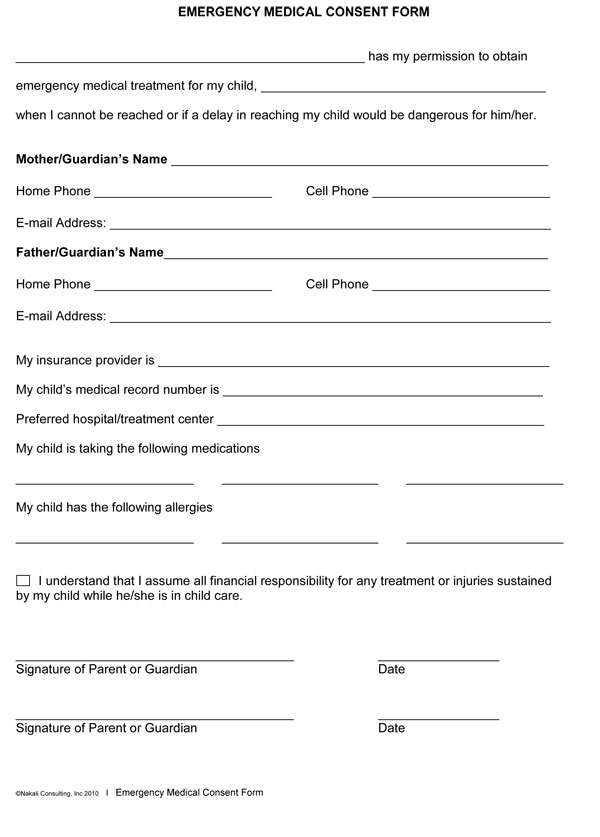 Adult Medical Consent Form Samples