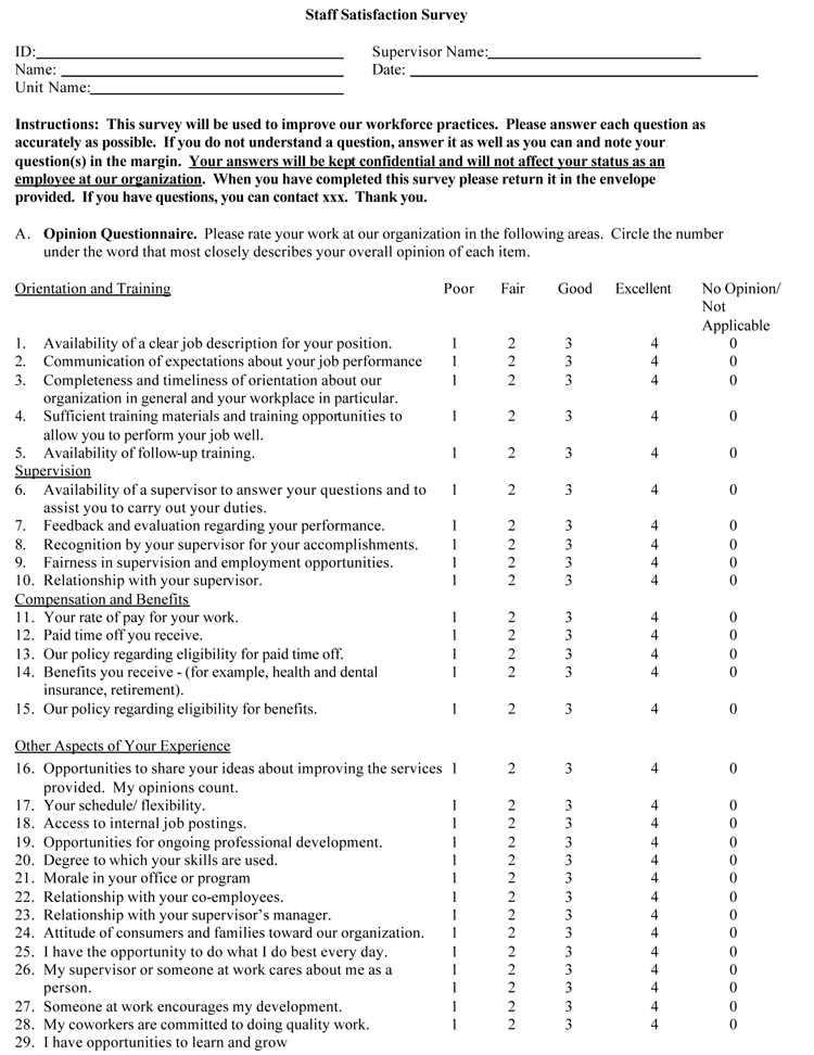 sample questionnaire on job satisfaction