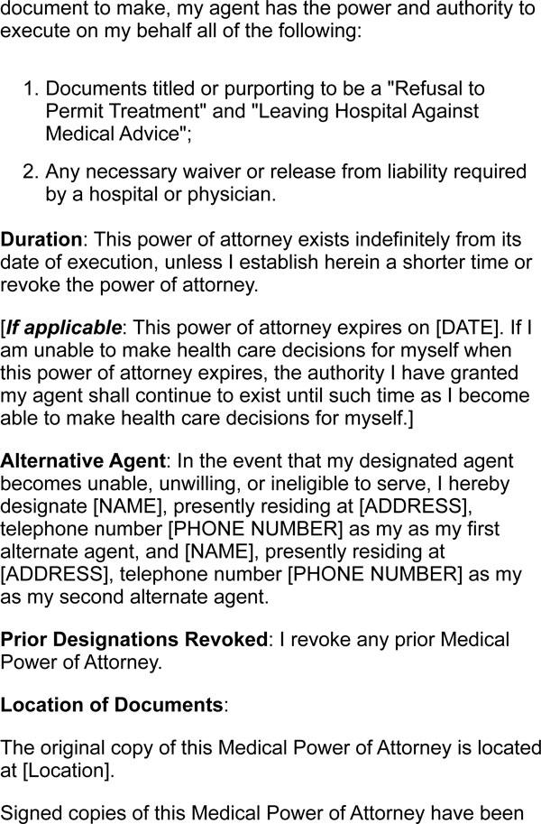 Medical Power of Attorney Form Samples - against medical advice form