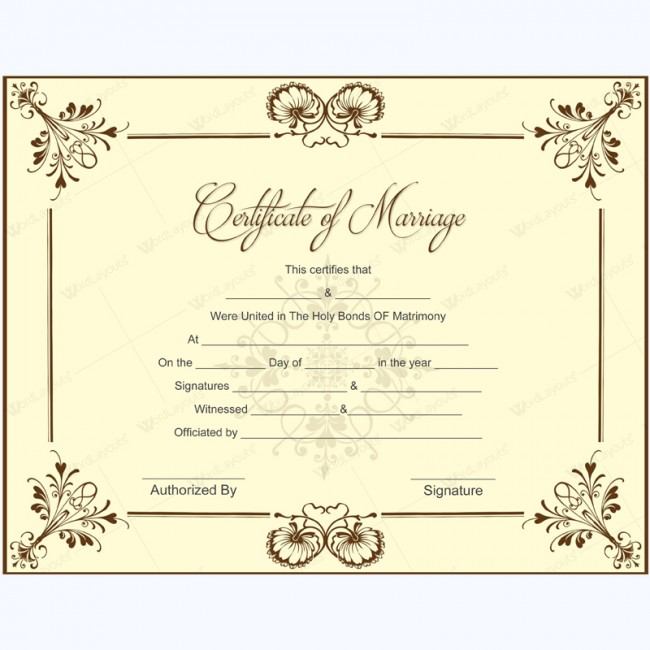 Printable Marriage Certificate Samples - certificate samples