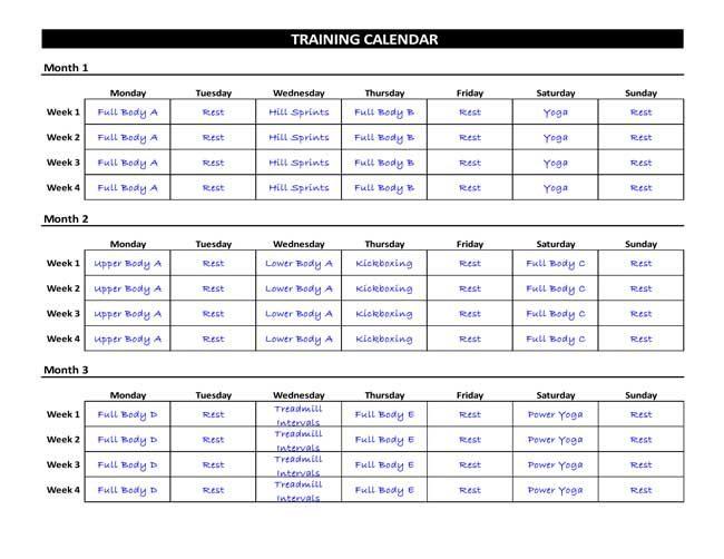 7 Printable Workout Log Templates to Track Your Progress - workout calendar template