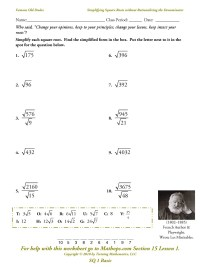 8 Best Images of Square Root Worksheet Printable - Square ...