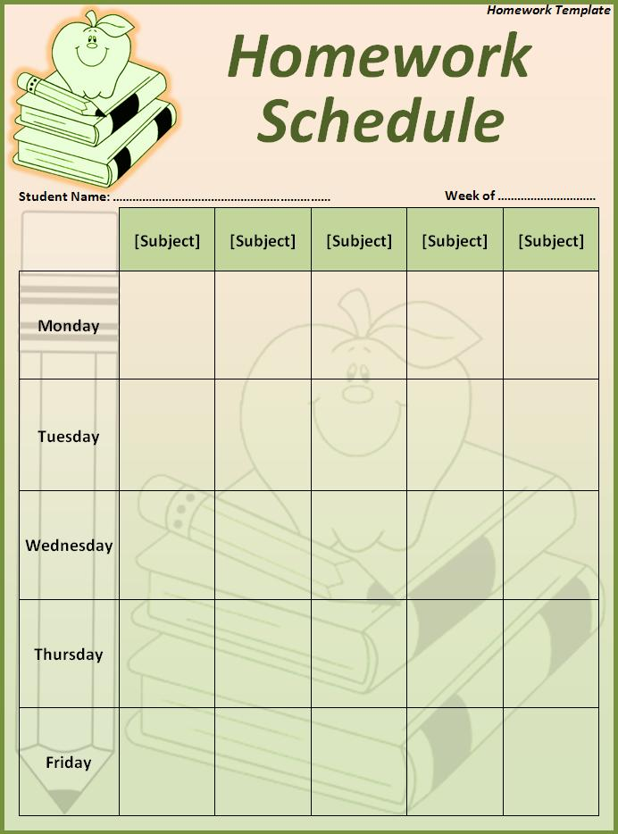 Free Homework Calendar Template Homework Calendar Office Templates 5 Best Images Of Printable Homework Template Weekly