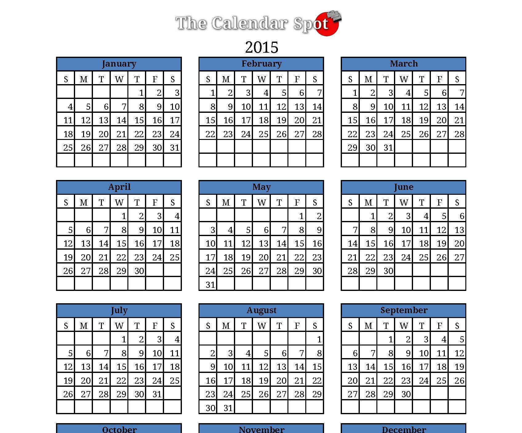 monthly calendar 2015 template