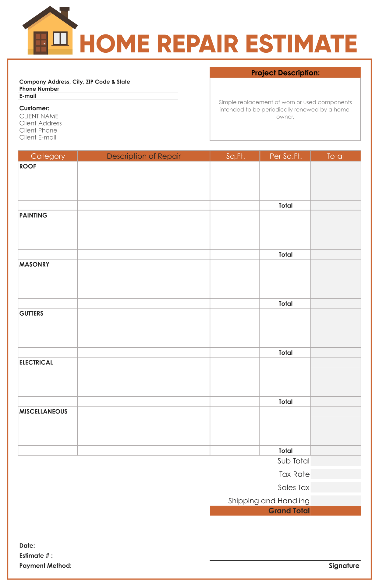 estimate sheets free printable
