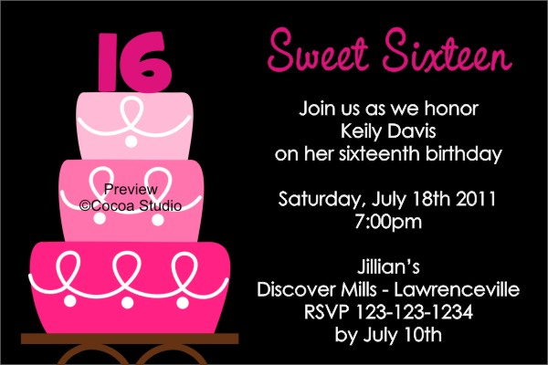 7 Best Images Of Printable Sweet 16 Birthday Invites