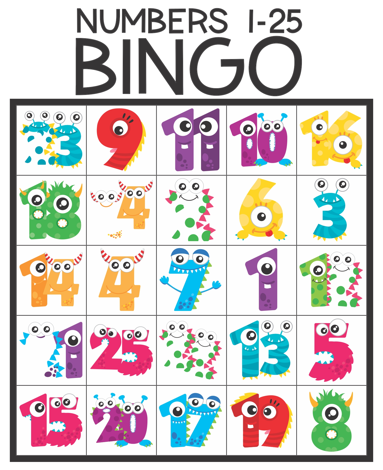 Printable Bingo Cards Numbers 1 75
