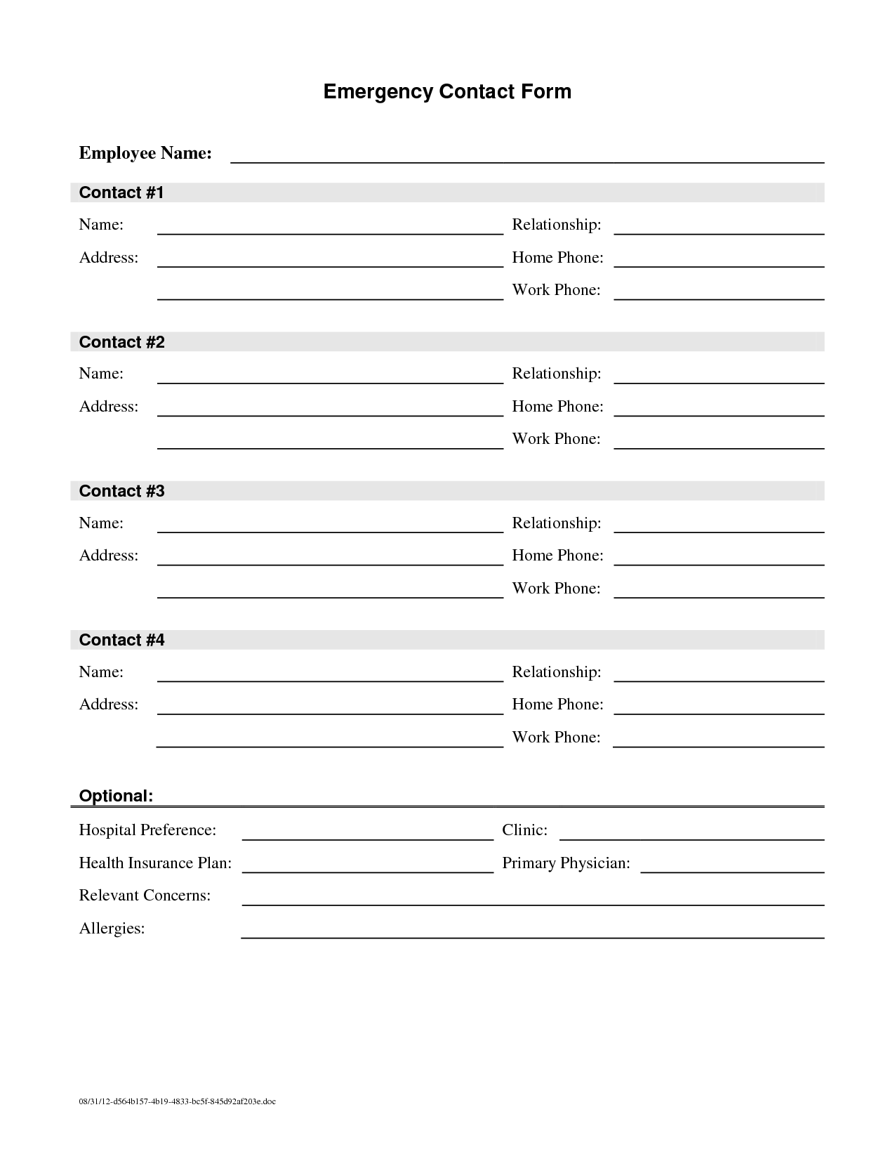 Emergency Contact Form Template – Customer Contact Form Template