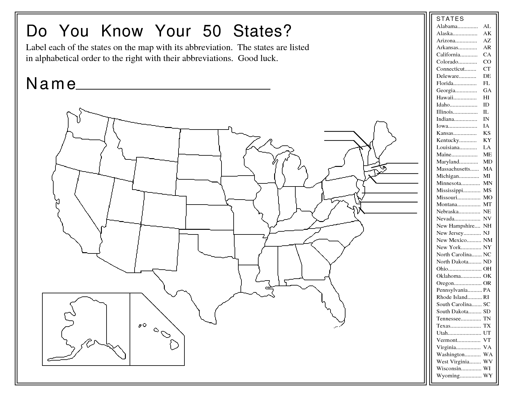 Us Map And Abbreviations - United states map with abbreviations and names