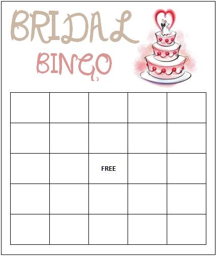 Bridal Bingo Free Template – Blank Bingo Template